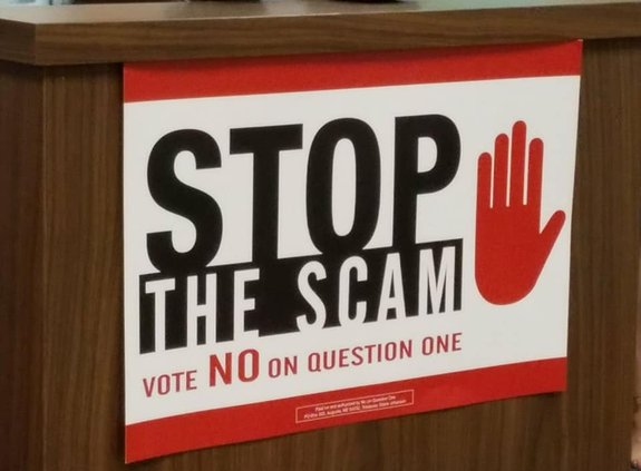 Key image for: No on Question 1 - Stop The Scam Campaign Has Officially Launched